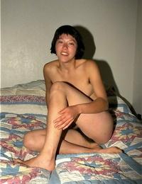 Amateur slant-eyed model Amanda shows hair all over her bare body