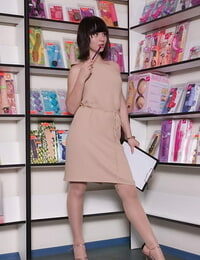 Lusty unexperienced in pantyhose undressing and displaying her slit in close up