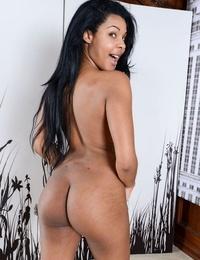 Dark-hued inexperienced Zoey Reyes slip out of hr see thru undies to show her snatch