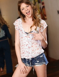 Naughty teen stunner Jessie Andrews unveiling her little curves