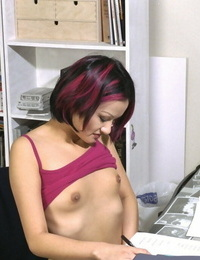 Asian fledgling Jade undressing in home office for pegging of trimmed honeypot
