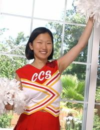Korean inexperienced Maxine loosing big natural boobs from cheerleader uniform