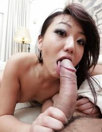 Playful slant-eyed honey Miko Dai shows Asian way of cock-sucking