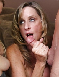 Lascivious mature ash-blonde with petite ass demonstrating off her blowjob skills