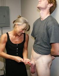 Naughty granny masturbating off a big hard-on and getting a facial cumshot