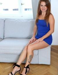 Slurps teenage Mila Fox bares her phat ball-sac while getting totally naked