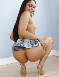 Playful latina girl with expressed ball-sac getting rid of her clothes