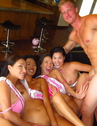 Thai squeal blowing off masculine strippers at wild bachelorette soiree