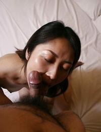 Close up blowjob from an Asian housewife Hisako Kawaguchi to her dude