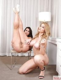 Big-titted teenager wives Kelsi Monroe and Skyla Novea get into lesbo humping