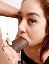 Diminutive Asian unexperienced Mila Jade providing a big ebony sausage a suck off