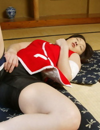Naughty asian babe with little forms Saeki Mai taunting her hairy vagina