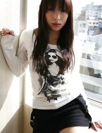 Asian teenage Asuka Takedal disrobing and vibrating her shaved gash