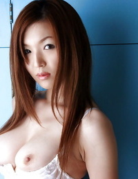 Pretty asian chick with petite tits Mai Hanano sliding off her undergarments
