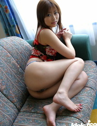 Pretty asian babe Miyu Sugiura uncovering her small tits and sadism pussy