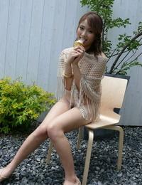 Japanese solo girl Iori Miduki capture an ice-cream after finger-tickling her beaver