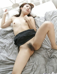 Stunning asian woman rides a hard hard-on and gets facialized