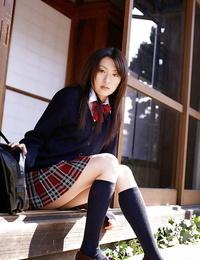 Asian schoolgirl Misa Shinozaki playing her pics thru her panties
