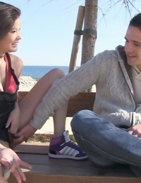 Japanese girl Miyuki Son picks up a guy at the beach for oral sex games