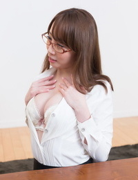 Japanese cocksucker give a buns and laps up the gooey cum