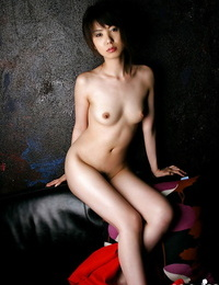 Lusty asian honey with hairy cunt uncovering her lil\' curves