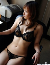 Wild asian babe in glasses disrobing and taunting her thicket