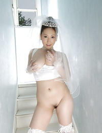 Big blasted asian bride Ai Sayama undressing off her clothes