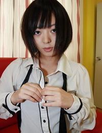 Edible asian teenager Haruka Okubo gets nude and has some beaver fingering joy