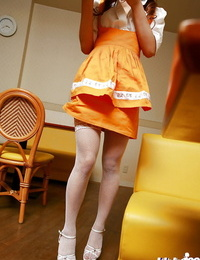 Saori Harada uncovering her tiny hooters with hard puffies and onanism her bush