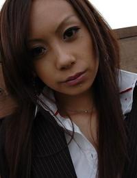 Asian teenage with shaved vag Ayane Fukumori disrobing and spreading her gams