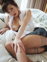 Cool asian lady Mako Katase disrobing off her suit and posing in underwear