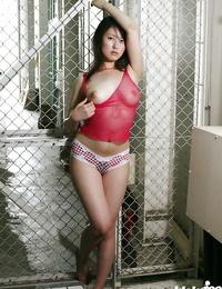 Seductive asian stunner with molten nut Takako Kitahara posing in lingerie