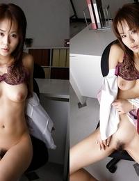 Stellar asian office chick Takane Hirayama undressing off her clothes