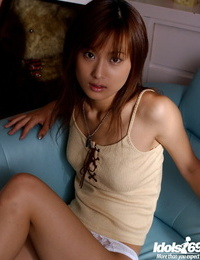 Scorching asian stunner with small knockers Ryoko Mitake taking off her clothes