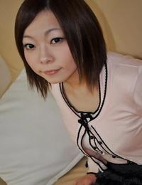 Timid asian teen Chika Matsura undressing and has some vagina vibing fun