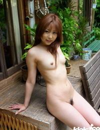 Bangable asian babe Miyu Sugiura sliding off her underwear outdoor