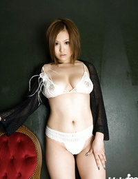 Asian honey in lingerie Yui Aoyama undressing and spreading her legs