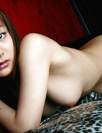Hot asian stunner in tights Noa Aoki stripping and stretching her gams