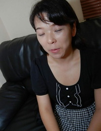 Shy asian Mummy with lil\' boobs getting bare and stimulating her hairless labia