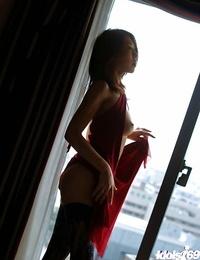 Molten asian girl in lacy rosebutt revealing her puny bosoms