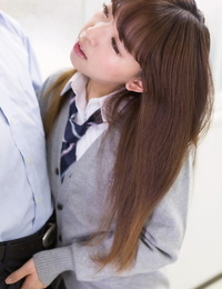 Petite Japanese schoolgirl caught wanking in class sucks teachers hard-on