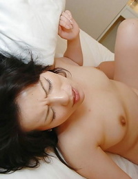 Asian Mummy Misuzu Masuko gives a deep throat and gets her hairy cunt shafted firm