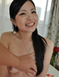 Asian cutie Mana Kikuchi munches a bro and gets her hairy vagina bitchy