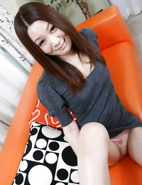 Asian honey with furry gash Nozomi Onodera undressing and stretching her gams