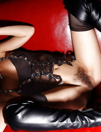 Gorgeous asian honey in leather boots Yua Aida undressing off her underwear