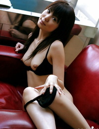 Super-sexy asian stunner with molten gams stripping and exposing her upbeat body