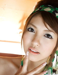 Loveable asian teenager with fur covered cootchie Kotone Aisaki gets rid of her swimsuit