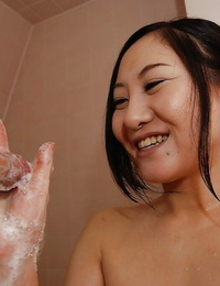 Risa Okamoto gives a sloppy suck off and gets her furry slit boned-up
