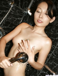 Juicy asian honey with lil\' tits and clean fanny taking shower