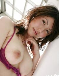 Sumptuous asian babe in lingerie Takako Kitahara unveiling her puny jugs